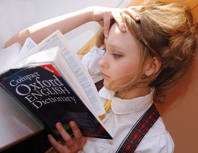 Girl Reading the Dictionary